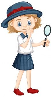 Meisje met vergrootglas