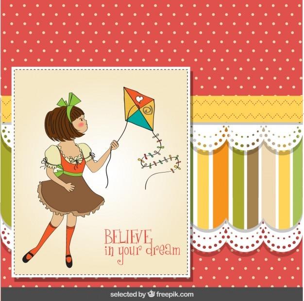 Meisje met vlieger wenskaart