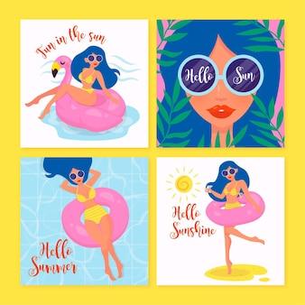 Meisje met zonnebril hand getekende zomerkaart collectie