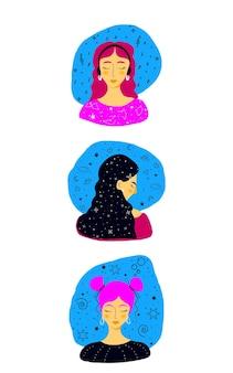 Meisje moderne set vector achtergrond. grafisch ontwerp. vrouw zomer patroon. mode folder.
