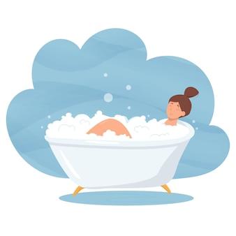 Meisje neemt een bad en ontspant in een witte badkuip met schuim en geborreld. cartoon afbeelding van dagelijkse hygiëne in de badkamer.