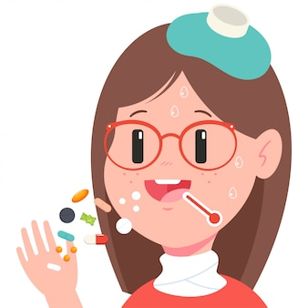 Meisje neemt pillen cartoon.