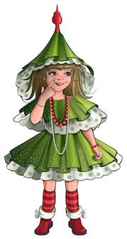 Meisje nieuwjaar kostuum groene kerstboom.