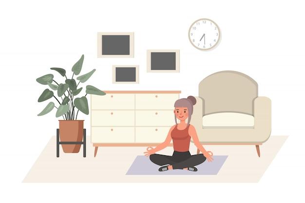 Meisje oefenen thuis karakter. yoga en fitness, gezonde levensstijl concept.