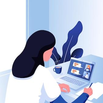 Meisje of vrouw die een telefonische vergadering heeft met zijn zakelijke werk op afstand en zakelijke communicatie