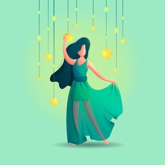 Meisje onder stralende sterren