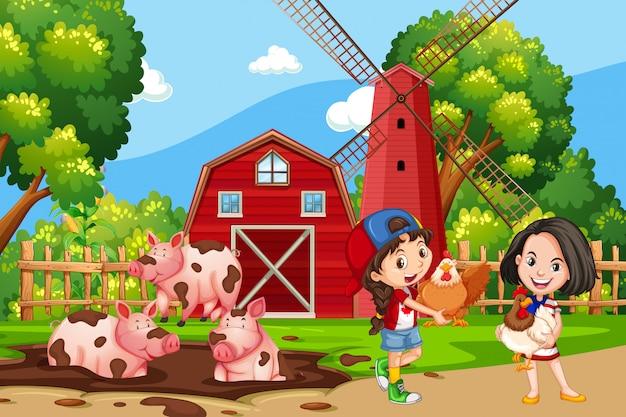 Meisje op de landbouwgrond