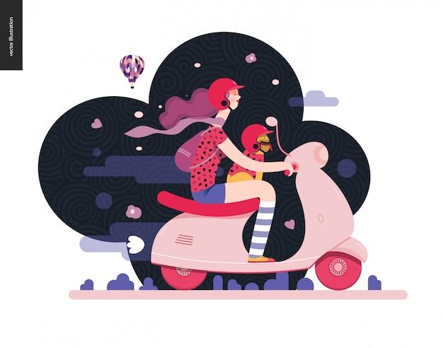 Meisje op een scooter