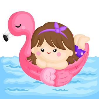 Meisje op flamingo float