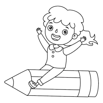 Meisje op groot potlood, line art drawing for kids kleurplaat