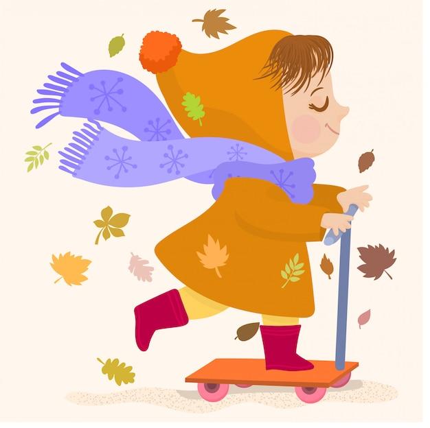 Meisje op haar autoped in de herfstseizoen