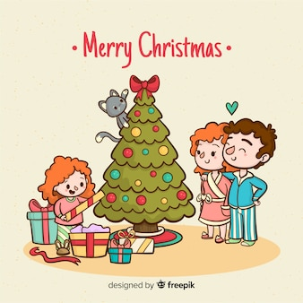 Meisje openen presenteert kerstmis achtergrond