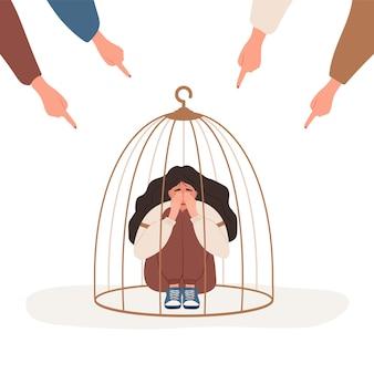 Meisje opgesloten in kooi. vingers wijzen op droevige vrouw.