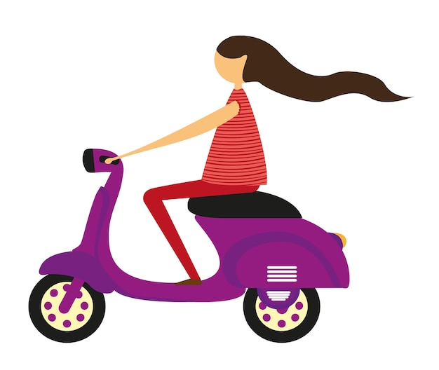 Meisje over motor geïsoleerd over witte achtergrond vector