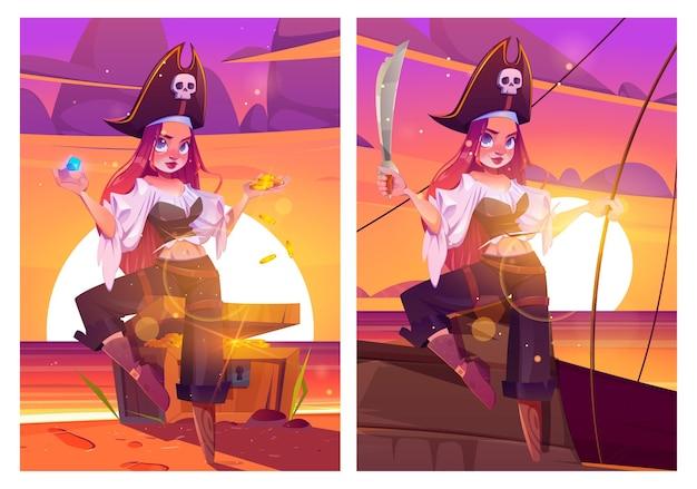 Meisje piraat op strand met schatkist filibuster kapitein vrouw met zwaard op schip