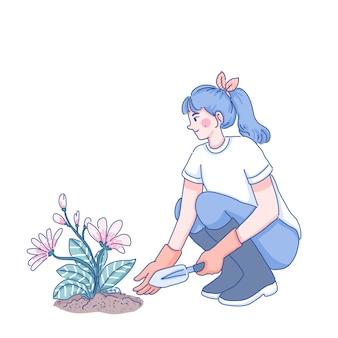 Meisje plant bloemen