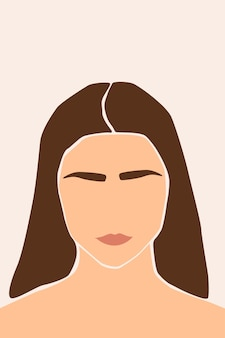 Meisje portret abstract minimalistisch boho silhouet patroon achtergrond