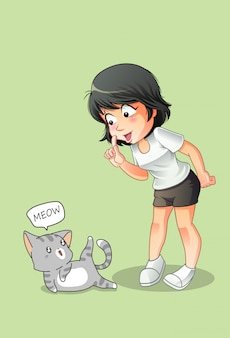 Meisje praat met kat in cartoon stijl.