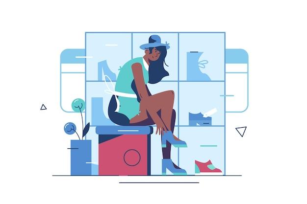 Meisje probeert op schoenen in boetiek. vrouw winkelen in schoen winkel vlakke stijl concept. schoeisel en mode-concept.
