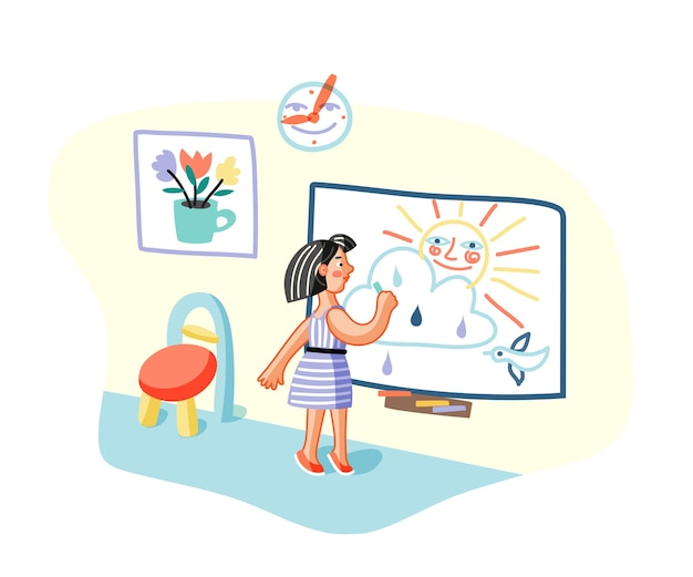 Meisje puttend uit whiteboard in klas, jonge schilder in kleuterschool kamer stripfiguur.