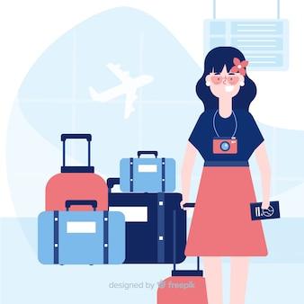 Meisje reizende achtergrond