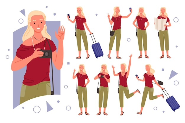 Meisje reiziger stelt illustratie set.