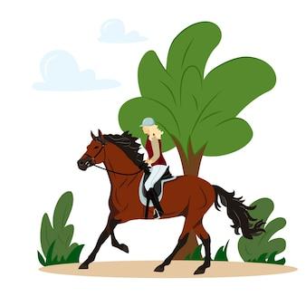Meisje rijdt op een paard in het park jockey op paard paardensport geïsoleerde vectorillustratie