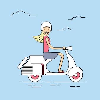 Meisje rit elektrische scooter retro elektrisch vervoer