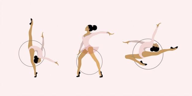 Meisje ritmische gymnastiek met hoepels illustratie instellen. vrouwen acrobatische gymnastiek, vlakke afbeelding.