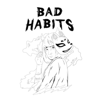 Meisje roken illustratie zwart-wit voor tshirt