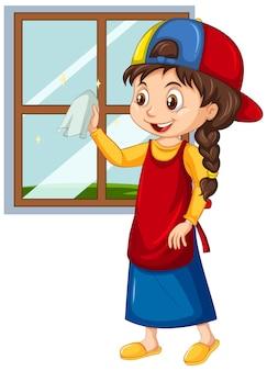 Meisje schoonmaak venster op geïsoleerde achtergrond