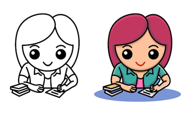 Meisje schrijven voor huiswerk kleurplaat voor kinderen