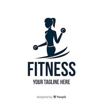 Meisje silhouet fitness logo platte ontwerp