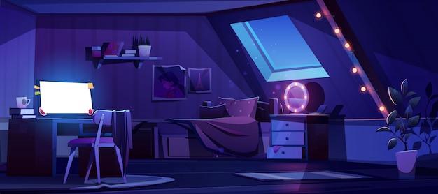 Meisje slaapkamer interieur op zolder 's nachts