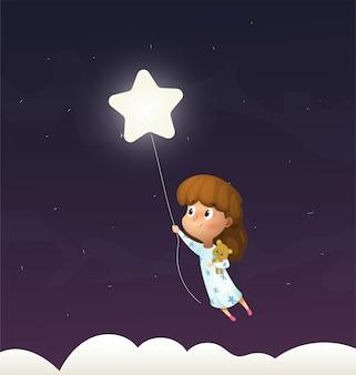 Meisje slaapt en vliegt door de nachtelijke hemel in haar droom
