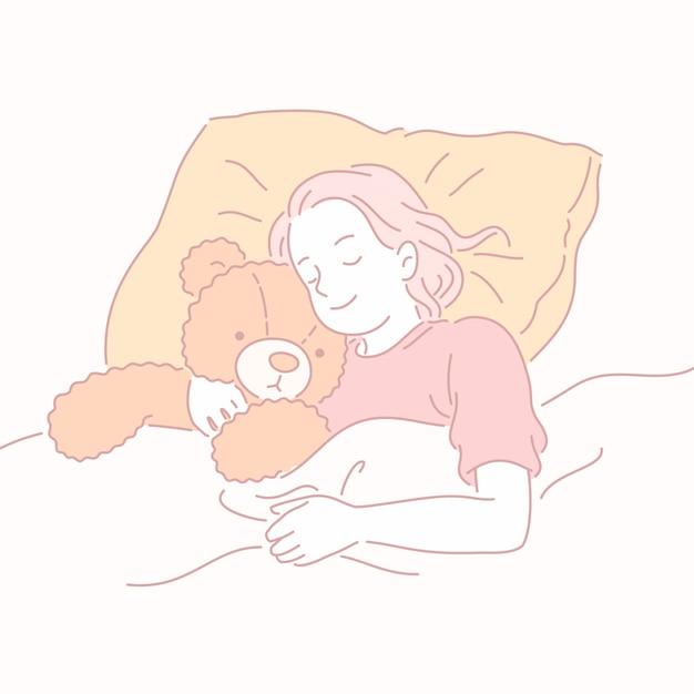 Meisje slapen in bed teddy bear knuffelen in lijnstijl