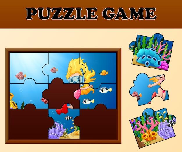 Meisje snorkelen met puzzel concept