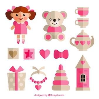 Meisje speelgoed in plat design