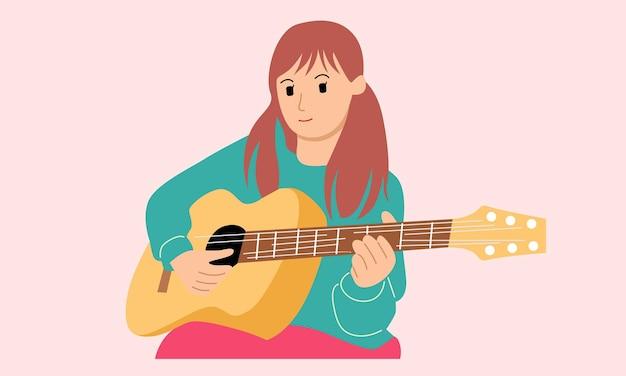 Meisje speelt gitaarinstrument