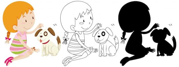 Meisje speelt met schattige hond kleur en overzicht en silhouet