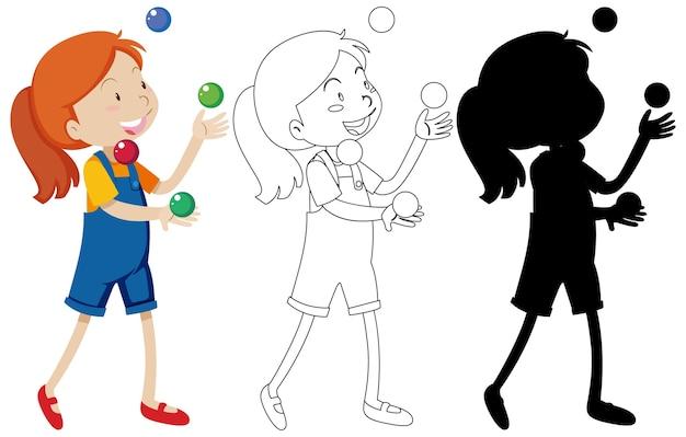 Meisje speelt met veel ballen in kleur en omtrek en silhouet