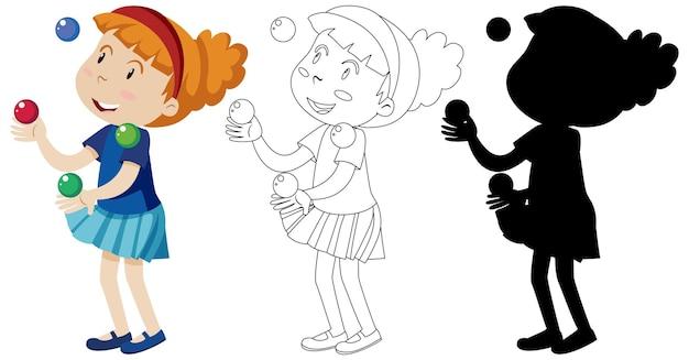 Meisje speelt met veel ballen met zijn omtrek en silhouet