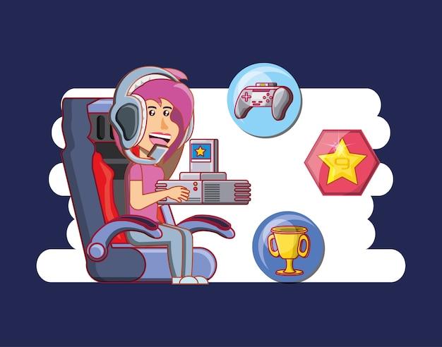 Meisje speelt met videogameconsole