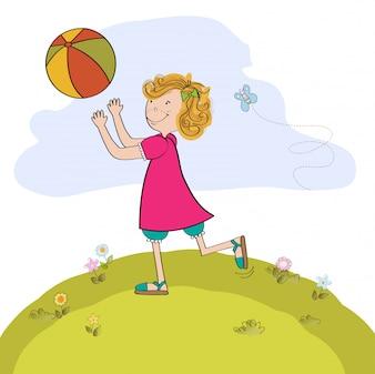 Meisje, spelend, bal