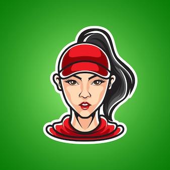 Meisje sport coach hoofd logo