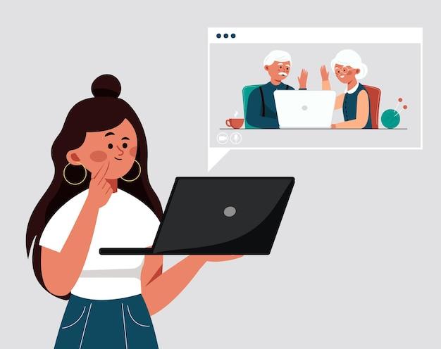 Meisje spreekt via videoverbinding met haar grootouders bejaarde gepensioneerde ouders communiceren met dochter via videoverbinding op computer met camera Premium Vector