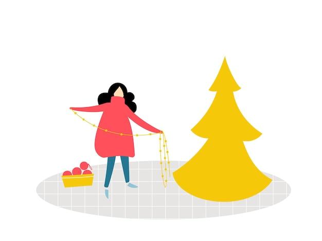 Meisje staat en houdt een slinger vast en versiert een kerstboom. vlakke afbeelding van kamer, gezellige winters tafereel.