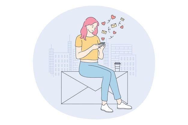 Meisje stripfiguur zitten met smartphone in handen