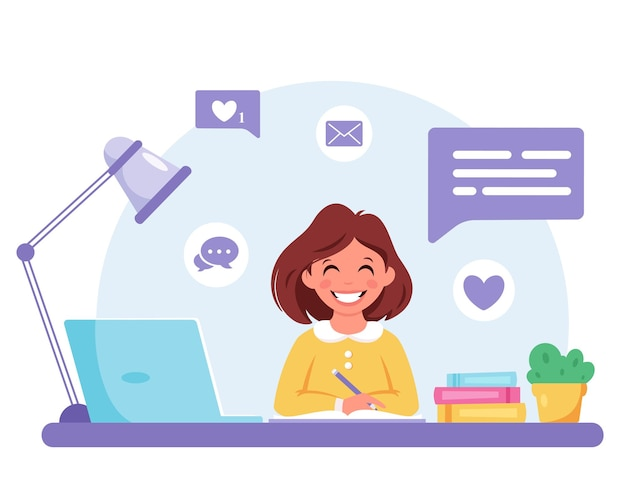 Meisje studeert met computer online leren terug naar school
