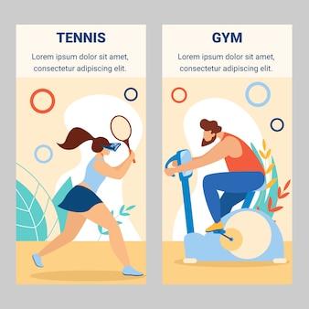 Meisje tennisspeler man rijden hometrainer in de sportschool